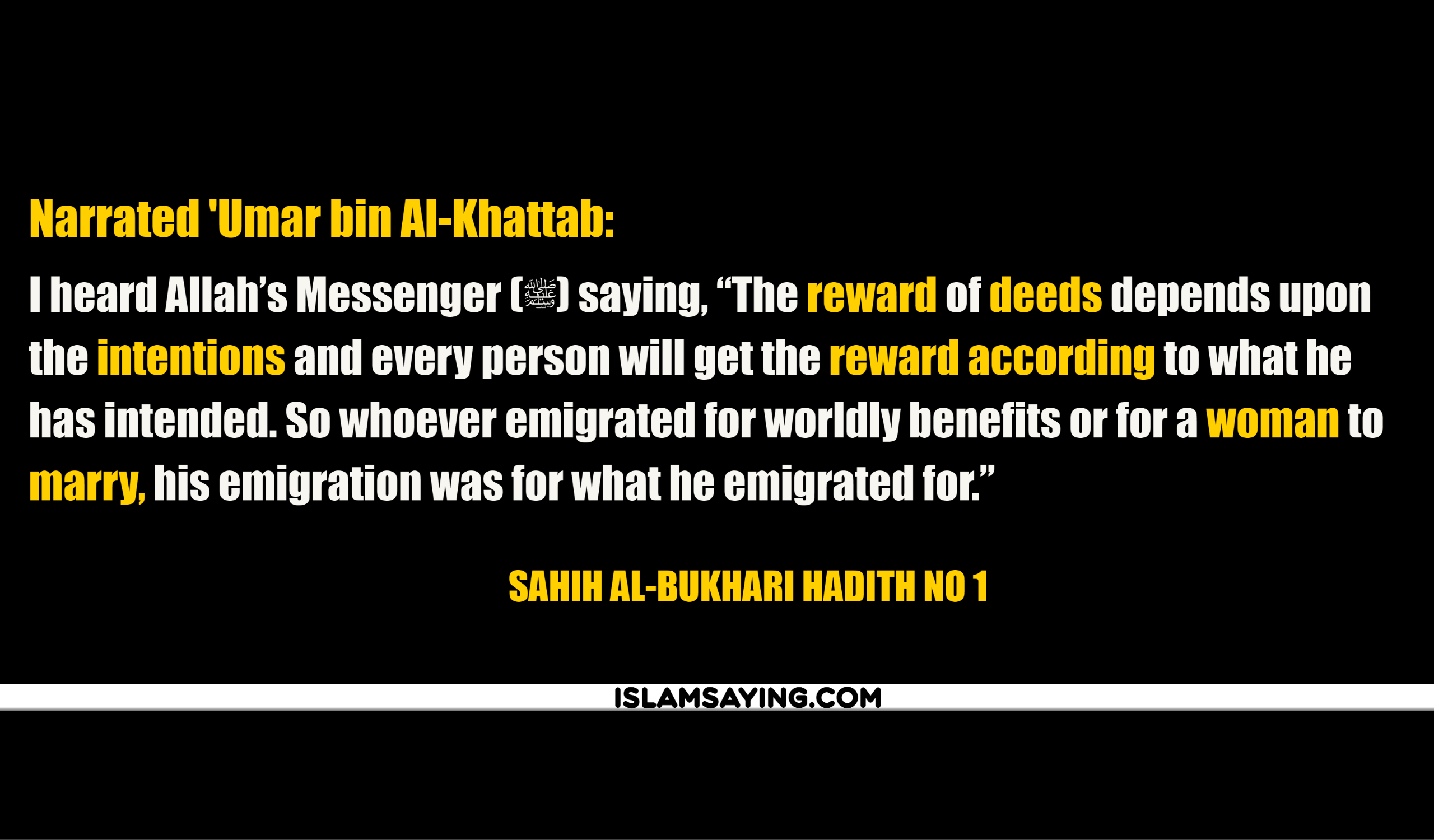 Hadith About Intentions